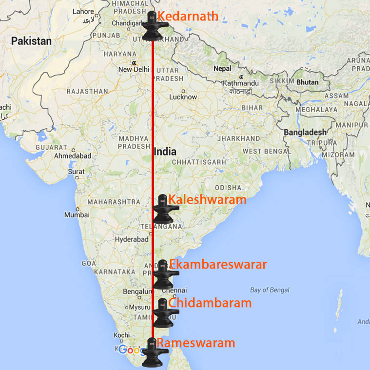 Ancient Siva Temples Kedarnath to Rameswaram on Straight Line